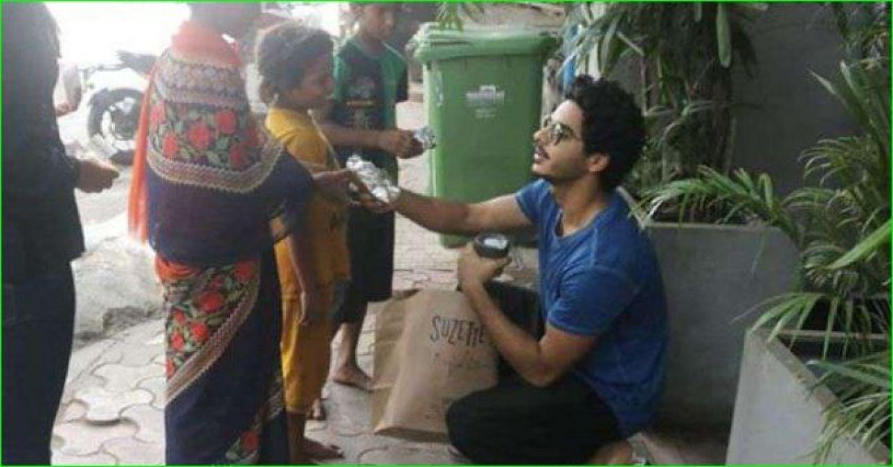 गरीबों बच्चों को खाना बांटते नजर आए ईशान खट्टर